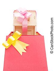 boxas, klippning, vertikal, hus, band, bana, besides, vecklade present
