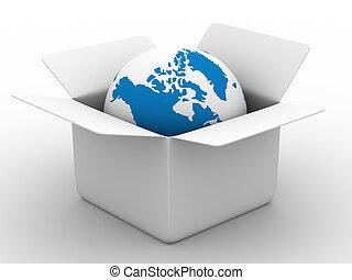 boxas, klot, isolerat, bakgrund., vit, öppna, avbild, 3