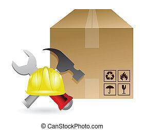 boxas, konstruktion, redskapen, skeppning