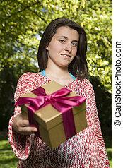 boxas, kvinna, erbjudande, ung, gåva