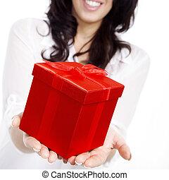 boxas, kvinna, gåva