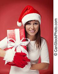 boxas, kvinna, jultomten, gåva, röd