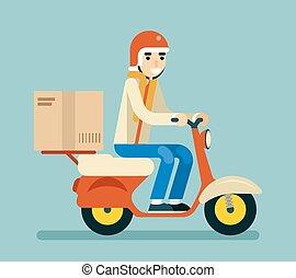 boxas, lägenhet, begrepp, kurir, sparkcykel, isolerat, illustration, leverans, vektor, grön, motorcykel, bakgrund, design, symbol, ikon