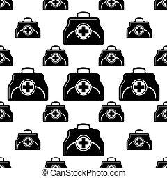 boxas, läkare, seamless, mönster, väska, bistånd, första, ikon