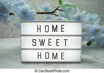boxas, lätt, ord, hem, söt, blomningen, dekoration