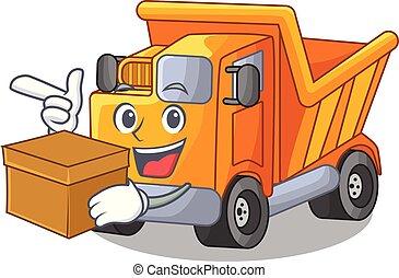 boxas, lastbil, transport, tecknad film, väg