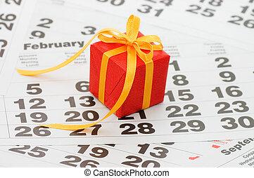boxas, med, a, gåva, på, kalender, ark, -, -, valentinkort dag