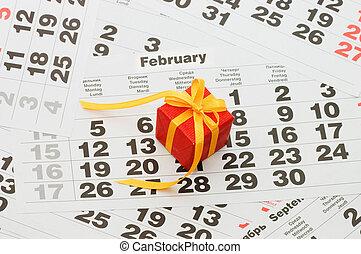 boxas, med, a, gåva, på, kalender, ark, -, valentinkort dag