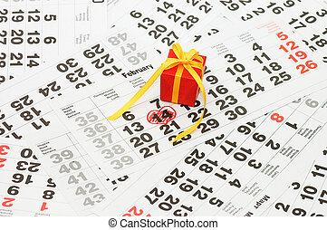 boxas, med, a, gåva, på, kalender