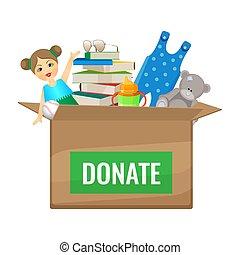 boxas, med, toys, och, böcker, till, donera, för, barn