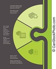 boxas, olika, infographic, design, ikonen