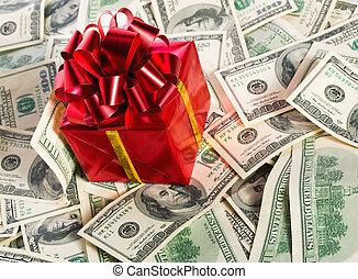 boxas, pengar, hög, gåva
