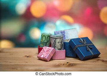 boxas, pengar, insida, öppna, gåva