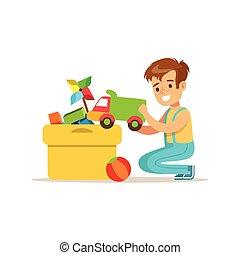 boxas, pojke, hans, hushållning, hus, tecken, portion, rengöring, sätta, toys, le, tecknad film, speciell, unge
