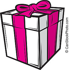 boxas, rosa, vita remsa, gåva