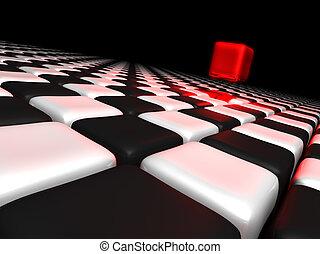 boxas, rutor, annat, svart, ovanför, allena, vit röd