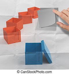 boxas, Skrynkligt, tänkande, klibbig, anteckna, utanför, papper