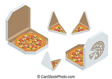 boxas, smaklig, bakgrund., slice., använd, frisk, varm, klassisk, design, isometric, isolerat, skiva, förgrena, vit, italiensk, pizza, pizza, triangel