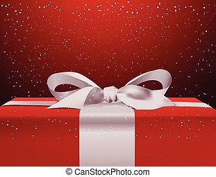 boxas, snöflingor, gåva, stor, över, bakgrund, stjärnfall, helgdag, röd