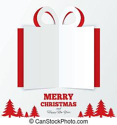 boxas, snitt, gåva, paper., träd., jul