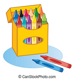 boxas, stor, crayons
