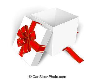 boxas, tom, öppnat, gåva