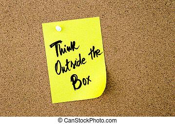 boxas, utanför, gul, anteckna, skriftligt, papper, tänka