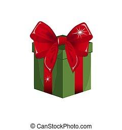 boxas, vektor, gåva, illustration