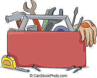 boxas, verktyg, bord, tom