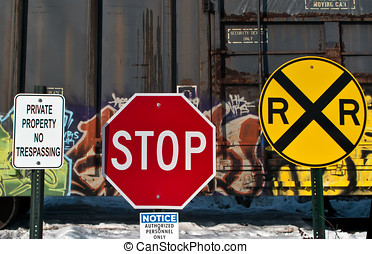 Boxcar and Road signs - Private Property, no trespassing...