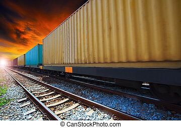 boxcar container trains on track use for indutry land ...