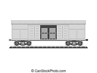 Boxcar with freight. Isolated on background. Vector illustration