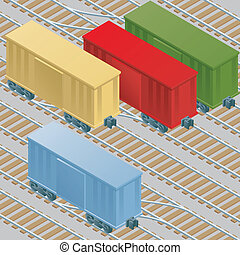 Cartoon boxcars at rest in a railyard.