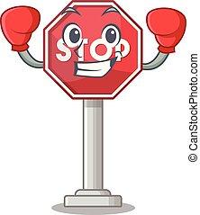 boxe, arrêt, formé, mascotte, signe, caractère