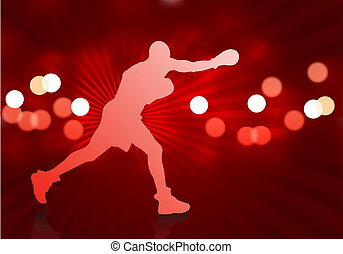boxe, arrière-plan rouge