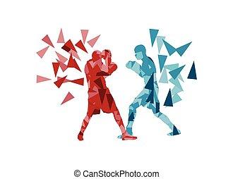 boxe, baston, revêtement, autre, chaque, homme