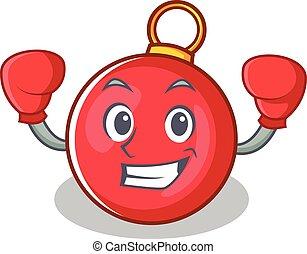 boxe, caractère, noël boule, dessin animé