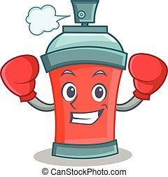 boxe, caractère, pulvérisation, boîte aérosol, dessin animé