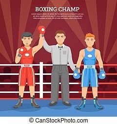 boxe, champion, composition