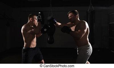 boxe, club, hommes, exercisme, ensemble, deux, santé