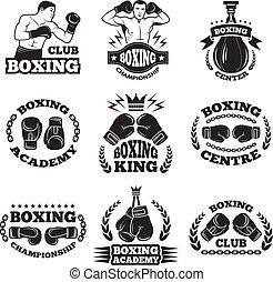 boxe, clube, luta, vetorial, labels., ilustrações, monocromático, mma, ou