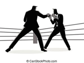 boxe, combat, autre, hommes affaires, chaque, anneau