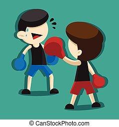 boxe, dessin animé