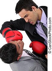 boxe, deux, hommes affaires