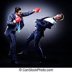 boxe, dois, contra, jovem, experiência escura, homem ...