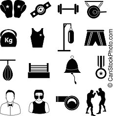 boxe, ensemble, icônes