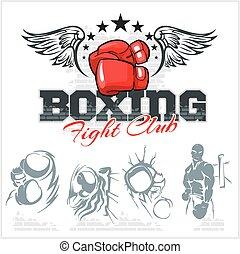 boxe, etiquetas, e, ícones, set., vetorial, illustration.