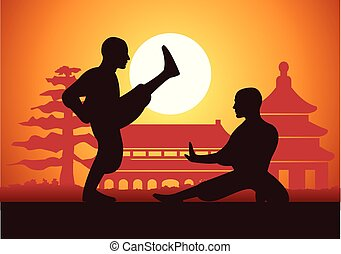boxe, fu, arte, marcial, kung, chinês