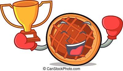 boxe, gagnant, baket, tarte, mascotte, dessin animé