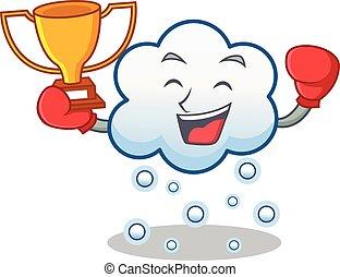 boxe, gagnant, caractère, neige, dessin animé, nuage